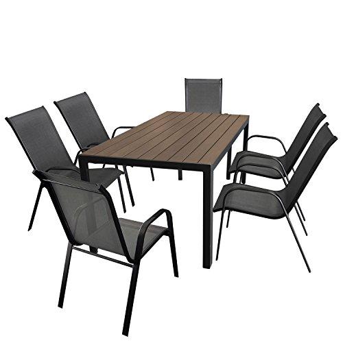 Wohaga Gartenmöbel-Set Aluminium Gartentisch mit Polywood-Tischplatte 150x90cm  6X Stapelstuhl mit anthrazitfarbener Textilenbespannung Gestell pulverbeschichtet Schwarz