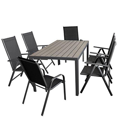 Wohaga Gartenmöbel-Set Aluminiumtisch mit Grauer Polywood-Tischplatte 150x90cm  4X verstellbare Alu Hochlehner mit Textilenbespannung  2X Stapelstuhl mit Textilenbespannung