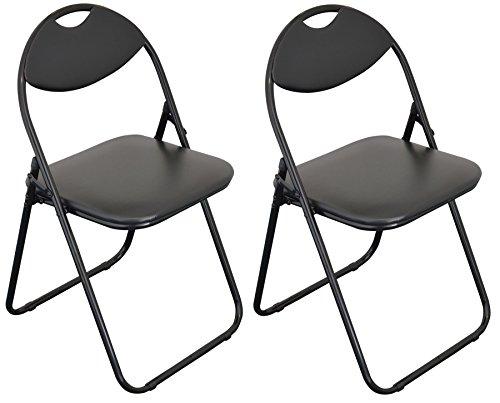 Klappstuhl - gepolstert - komplett schwarz - 2 Stück