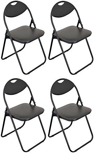 Klappstuhl - gepolstert - komplett schwarz - 4 Stück