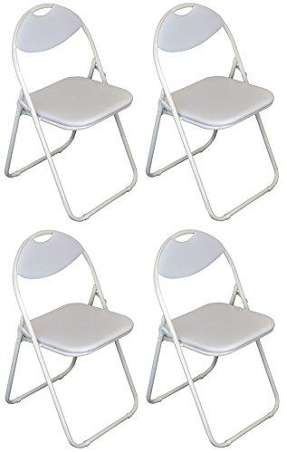 Klappstuhl - gepolstert - komplett weiß - 4 Stück