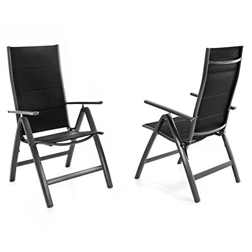 Nexos ZGC34481_SL02 2er Set Deluxe Klappstuhl gepolstert – Textilene schwarzRahmen dunkelgrau-Gartenstuhl Liegestuhl – klappbarer Stuhl aus Aluminium Kunststoff Anthrazit