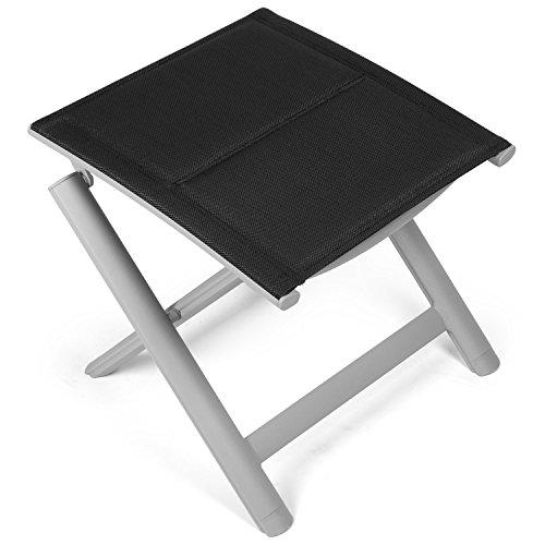 Vanage gepolsterter Hocker in schwarz - klappbarer Fußhocker - Alu Klapphocker - Sitzhocker - Klappstuhl für Camping Garten Terrasse und Balkon geeignet