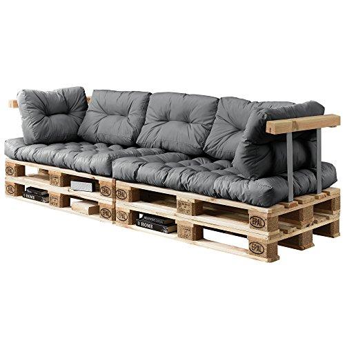 encasa Euro Paletten-Sofa - DIY Möbel - Indoor Sofa mit Paletten-Kissen  Ideal für Wohnzimmer - Wintergarten 2 x Sitzauflage und 5 x Rückenkissen Grau