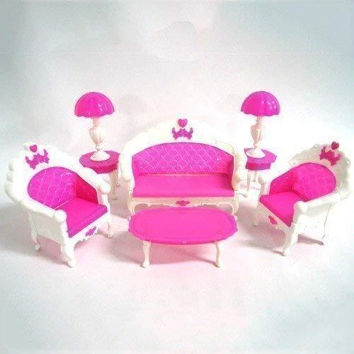 Kingken Funny Creative Barbie Puppe Haus Wohnzimmer Möbel Sofa Tisch Lampe Set Pink