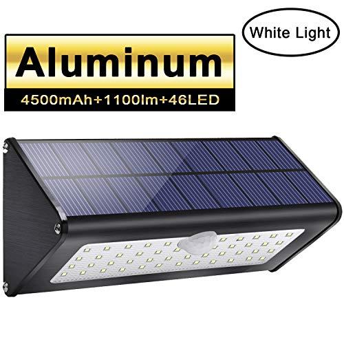 Licwshi 1100lm Solar Außenbeleuchtung 4500mAh Schwarz Aluminiumlegierung 120 ° Infrarot Bewegungssensor wasserdicht IP65 Sicherheitslicht mit 4 intelligenten Modi für Garten Tor Wall- weißes Licht
