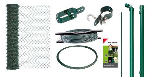 GAH-Alberts 633172 Maschendrahtzaun-Set zum Einbetonieren grün 1000 mm Höhe 15 m Rolle