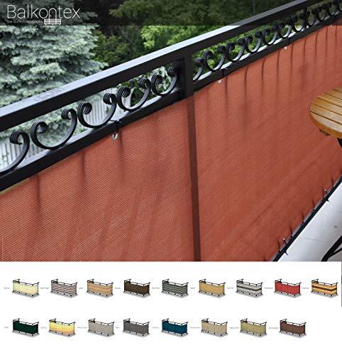 Balkonverkleidung Balkonbespannung Balkonsichtschutz nach Maß Höhe 75cm prompt 75 x 550cm Terrakotta