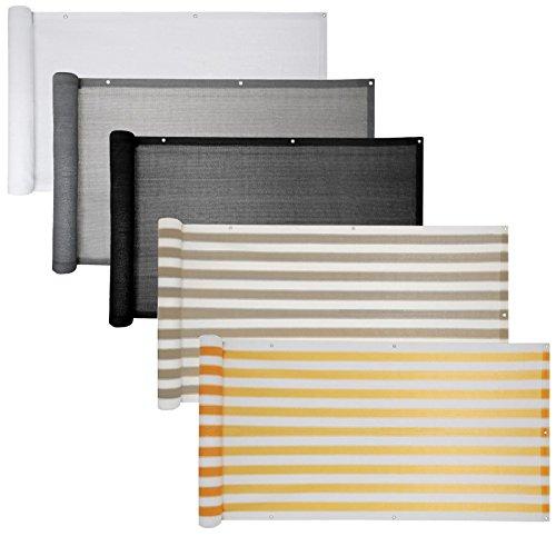 Balkon Sichtschutz verschiedene Modelle  Balkonbespannung Balkonsichtschutz Balkonverkleidung 6 Meter 075 x 60 Meter Grau - Weiß gestreift