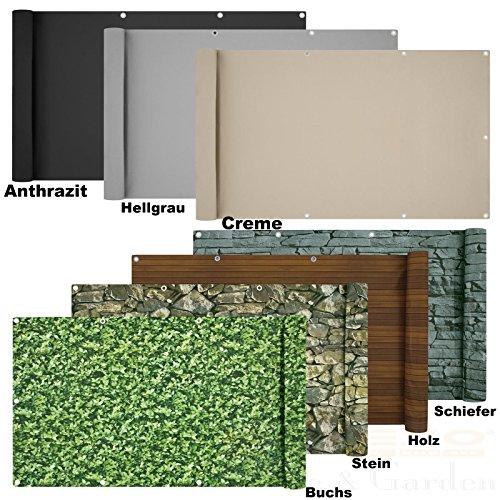 Balkon Sichtschutz verschiedene Modelle - Balkonbespannung Balkonsichtschutz Balkonverkleidung 6 Meter 075 x 60 Meter Schiefer - Optik