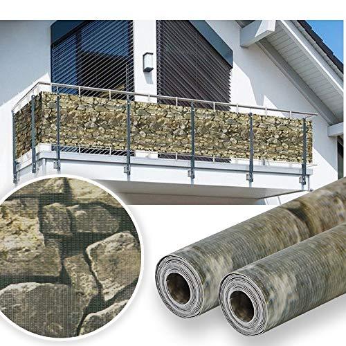 HG 35mx19cm Sichtschutz Streifen Gartenzaun Folie PVC UV-bestädig für den Gartenzaun oder Balkon inkl Befestigungsclips