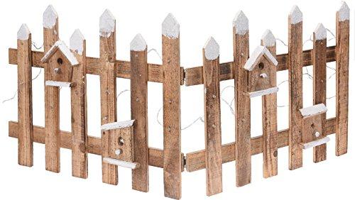 Deko Holz Zaun mit 30 LED - 100x40 cm - Mini Gartenzaun Winter Gatter beleuchtet
