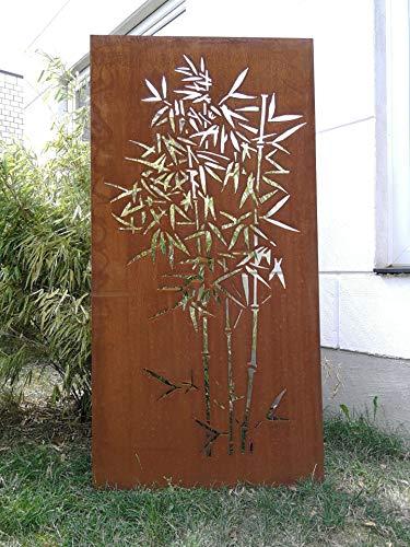 Zen Man Garten Sichtschutz aus Metall Rost Gartenzaun Gartendeko edelrost Sichtschutzwand 150  75cm 101552
