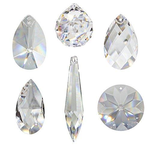 Kristall Sonnenfänger 6er Set zum aufhängen als Fensterschmuck und Raumpendel Waldorf Feng Shui Regenbogen-kristalle Kristallglas 30 Bleikristall Mobiles Set-A