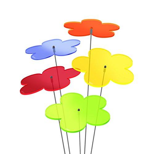 SUNPLAY Sonnenfänger Blumen im FARBMIX 5 Stück zu je 10 cm Durchmesser im Set  35 cm Schwingstäbe