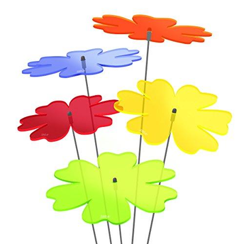 SUNPLAY Sonnenfänger Butterblume im Farbmix 5 Stück zu je 20 cm Durchmesser im Set  70 cm Schwingstäbe