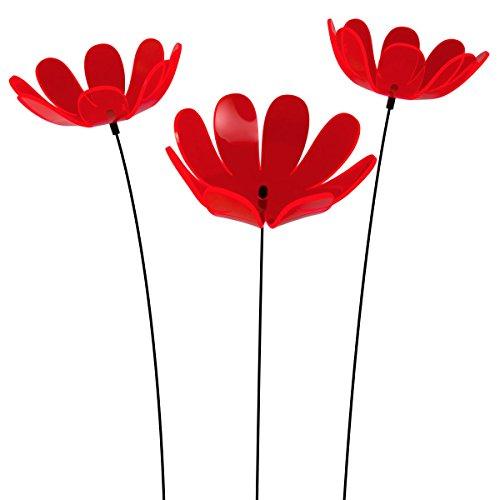 SUNPLAY Sonnenfänger Ringelblume in Rot 3 Stück zu je 15 cm Durchmesser im Set  70 cm Schwingstäbe