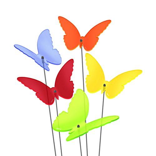 SUNPLAY Sonnenfänger Schmetterlinge Maddy im FARBMIX 5 Stück zu je 10 cm Durchmesser im Set  35 cm Schwingstäbe