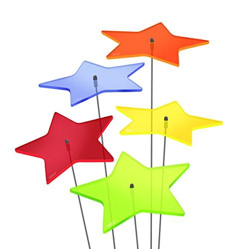 SUNPLAY Sonnenfänger Sterne Stella im FARBMIX 5 Stück zu je 10 cm Durchmesser im Set  35 cm Schwingstäbe