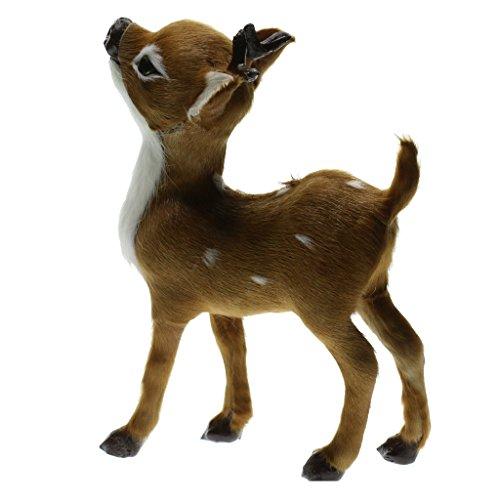 D DOLITY Rasen Dekofigur Fuchs Fox lebensecht Tierfigur Garten Deko - Braun Hirsche 13 x 7 x 4 cm