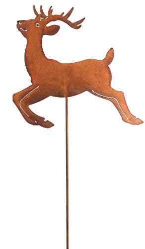 Gartenstecker Hirsch 118cm Metall Rost Gartendeko Edelrost