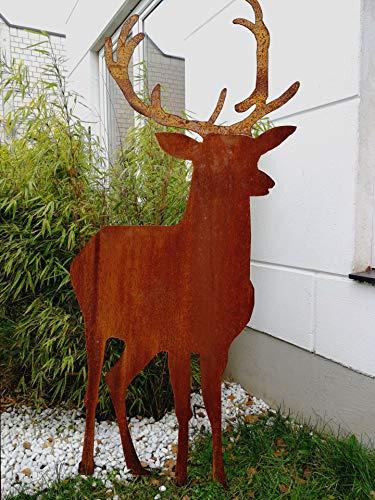 Zen Man Edelrost Garten Hirsch Rost Gartenfigure Gartendeko Hirsch Metall Handarbeit 577  16  125 cm 031853