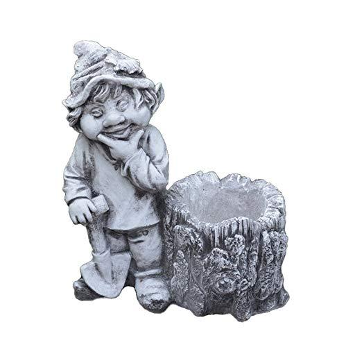 gartendekoparadiesde Massive Steinfigur lustiger Gnom Ich mag den Wald Troll Wichtel aus Steinguss frostfest