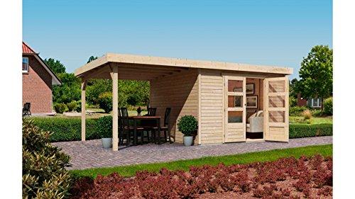 KARIBU Gartenhaus Arnis 4 mit seitlichem Schleppdach ca 220cm natur