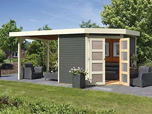 Karibu Gartenhaus GOLDENDORF 5  Anbaudach 220m Länge terragrau 246x242cm 19mm