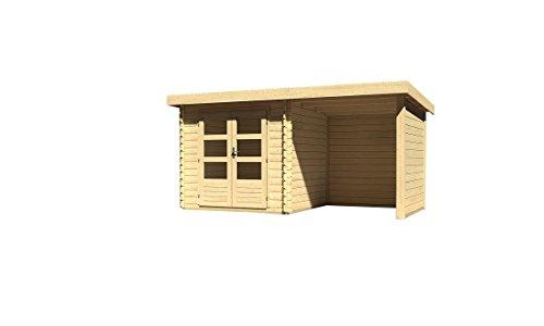 Karibu Woodfeeling Gartenhaus Bastrup 2 mit Schleppdach 2 Meter Seiten- und Rückwand