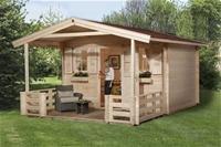 Weka Gartenhaus 138 Gr 1 mit Vordach und Terrasse