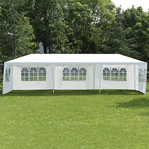 COSTWAY Partyzelt Gartenzelt Hochzeit Festzelt Pavillon Zelt Gartenpavillon Bierzelt mit Fenster 3x9m Weiß