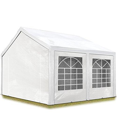 Hochwertiges Partyzelt 3x4 m Pavillon Zelt 240gm² PE Plane Gartenzelt Festzelt Bierzelt Wasserdicht weiß