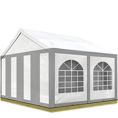 TOOLPORT Hochwertiges Partyzelt 3x4 m Pavillon Zelt 240gm² PE Plane Gartenzelt Festzelt Bierzelt Wasserdicht grau-weiß Modell 2018