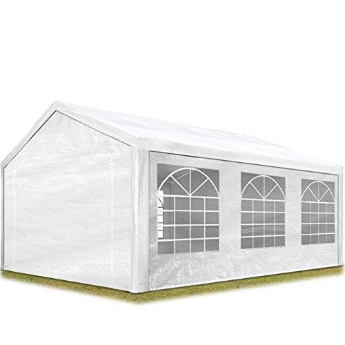 TOOLPORT Partyzelt Pavillon 3x6 m in weiß 180 gm² PE Plane Wasserdicht UV Schutz Festzelt Gartenzelt
