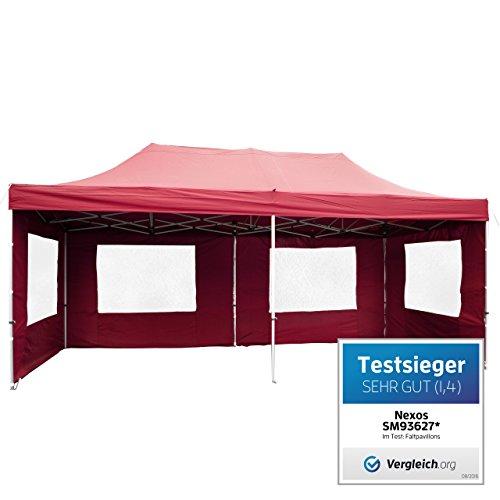 Nexos PROFI Faltpavillon Partyzelt Pavillon 3x6 m mit Seitenteilen - hochwertige Ausführung - wasserdichtes Dach mit PVC-coating - 270 gm² incl Tragetasche und Zubehör – Farbe burgund