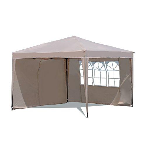 Sekey Garten Pavillon 3 x 3 m Faltpavillon einsetzbar als Gartenpavillon Party- und Festzelt Camping- und Festival-Zelt GartenmöbelGartenlaubenWasserdicht mit ZweiSeitenwänden,Taupe