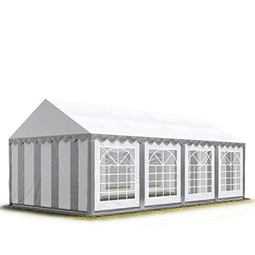 TOOLPORT Party-Zelt Festzelt 4x8 m Garten-Pavillon -Zelt 500gm² PVC Plane in grau-weiß Wasserdicht