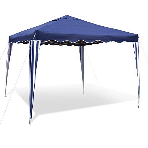 JOM Gartenpavillon Falt-Pavillon 3 x 3 m Dach blau Material Oxford 200D Metallgestänge wasserabweisend inklusiv Tasche ohne Seitenwände blau