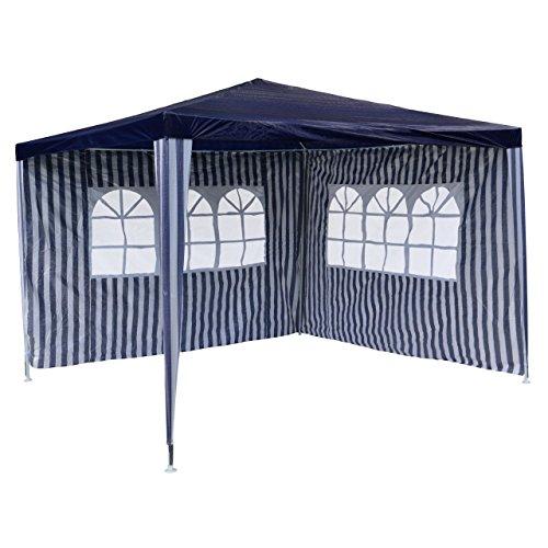 PE-Pavillon Partyzelt mit 2 Seitenteilen für Garten Terrasse Markt Camping Festival als Unterstand und Plane wasserdicht 3 x 3 m blau