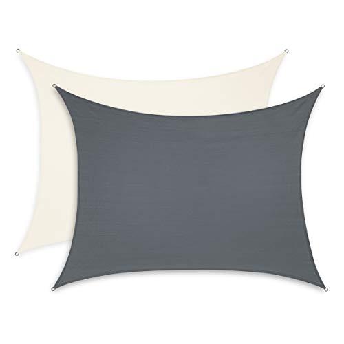 Minuma Sonnensegel  Sonnenschutz  Wetterschutzsegel  Windschutz  Sichtschutz - atmungsaktiv mit UV-Schutz  Rechteck 3 x 4 m anthrazit