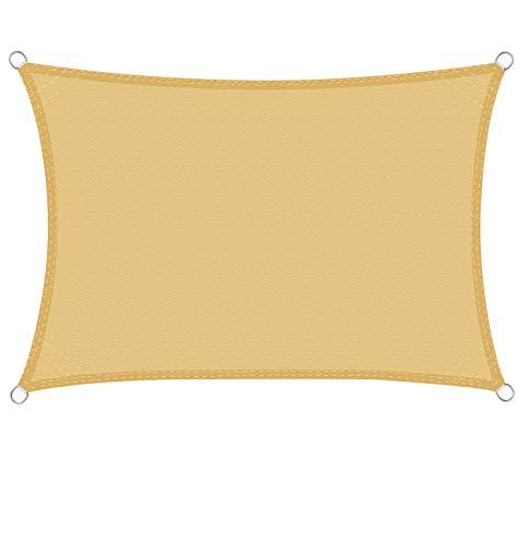 WOLTU Sonnensegel Rechteck 5x7m Sand wasserabweisend Sonnenschutz Polyester Windschutz mit UV Schutz für Garten Terrasse Camping