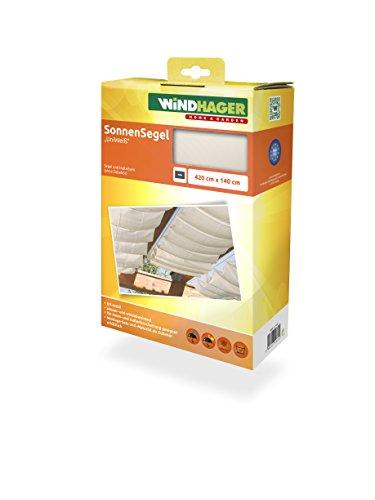 Windhager Sonnensegel für Seilspanntechnik Sonnenschutz Segel 420 x 140 cm ideal für Pergola oder Wintergarten UNIWEISS 10872