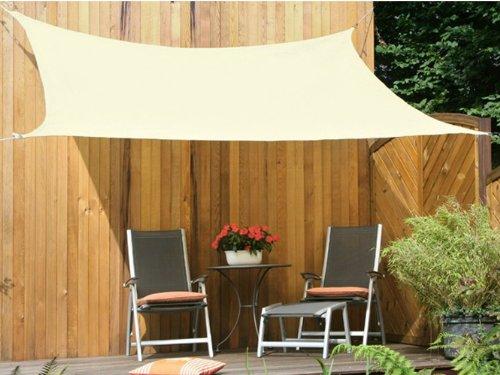 Floracord 06-77-45-00 HDPE Vierecksonnensegel 4 x 5 m weizen wind- und wasserdurchlässig inklusive Zubehör mit dauerelastischen Spanngurten