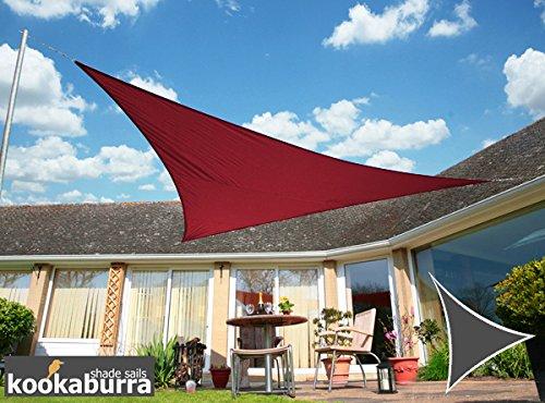 Kookaburra Wasserfest Sonnensegel 50m Dreieck Weinrot