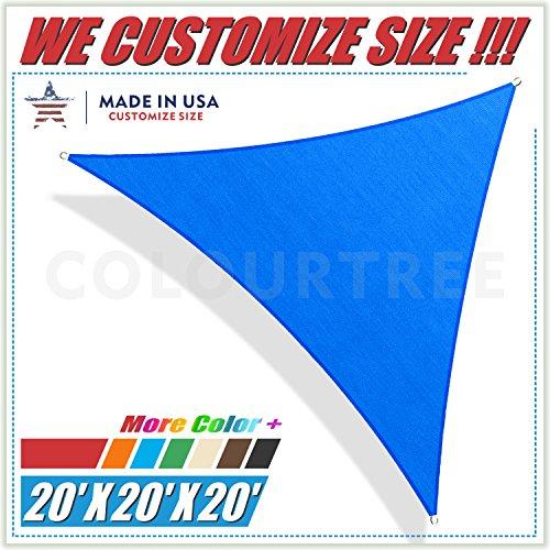 ColourTree Sonnensegel dreieckig UV-beständig strapazierfähig für gewerbliche Zwecke geeignet 6 x 6 m Blau