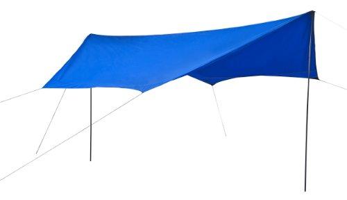 LA Garden Sonnensegel blau Sonnenschutz UV-Schutz 60 wasserdicht bis 2000 mm Maße 430 x 350 x 200 cm Sechs-Eck mit Stützen