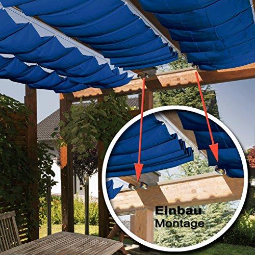 Seilspannmarkise ca 415x140 cm blauen Sonnensegel Metall Seilspanner