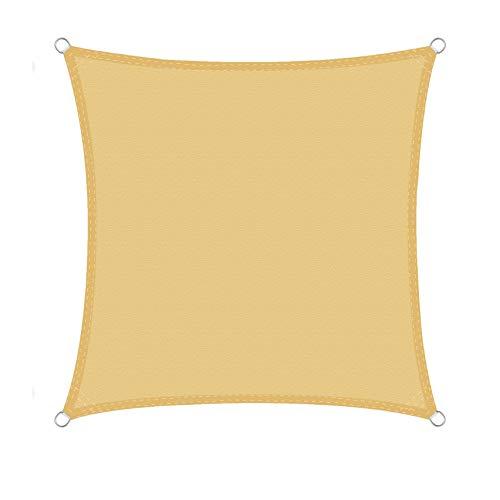 WOLTU Sonnensegel Quadrat 4x4m Sand wasserabweisend Sonnenschutz Polyester Windschutz mit UV Schutz für Garten Terrasse Camping
