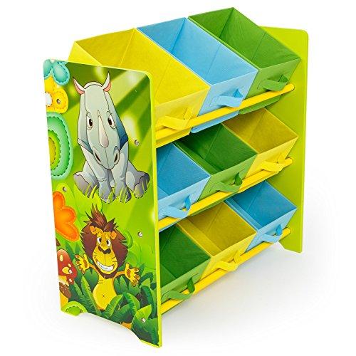 Homestyle4u 1130 Kinderregal Dschungel Tiere  Spielzeugregal 9 farbige Boxen als Ablage aus Stoff  Holz  Grün Bunt